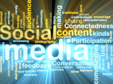 Word cloud tags concept illustration of social media glowing light effect  illustration