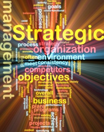 Word cloud tags concept illustration of strategic management glowing light effect  illustration