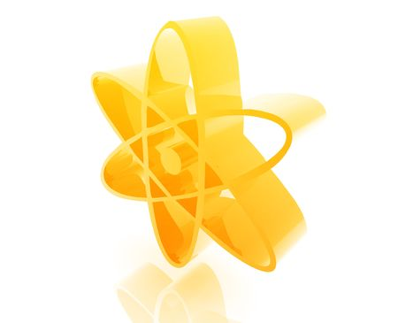Atomic nuclear symbol illustration glossy metal style isolated Stock Photo