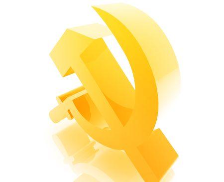 socialist: Soviet USSR symbol illustration glossy metal style isolated