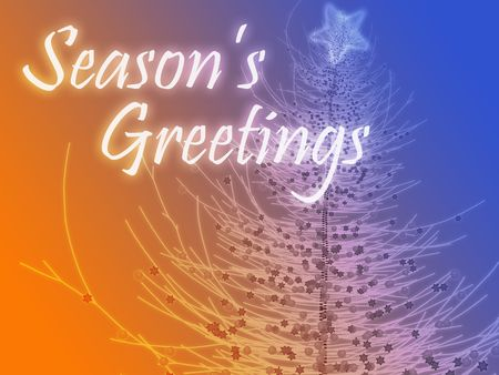 Merry christmas seasons greetings on tree illustration Stock Illustration - 5648181