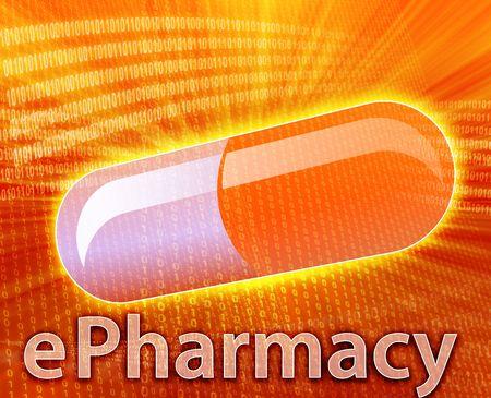 E-medicine, Online medicine, ecommerce health pharmacy illustration Stock Illustration - 5648189
