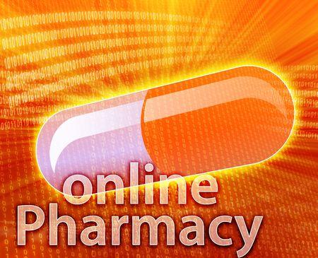 E-medicine, Online medicine, ecommerce health pharmacy illustration Stock Illustration - 5648192