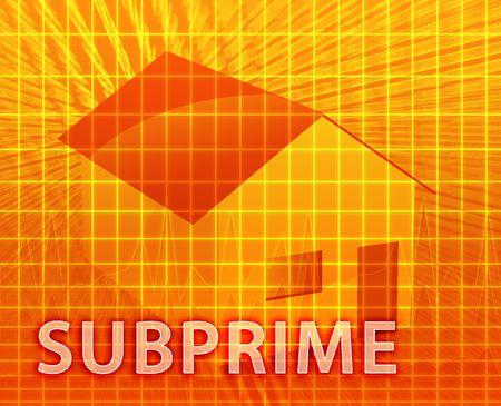 subprime: House financing digital collage illustration, subprime loan Stock Photo