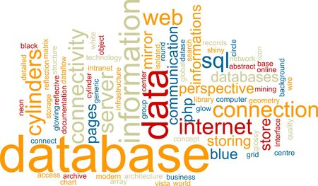 mirroring: Word cloud concept illustration of database storage Stock Photo
