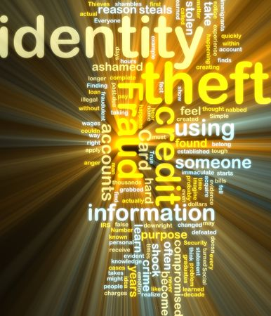 compromised: Word cloud tags concept illustration of identity theft glowing light effect  Stock Photo