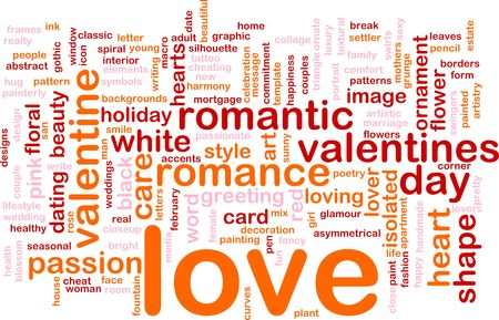 Word cloud concept illustration of love romance Stock Illustration - 5648200