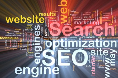 spamdexing: Software package box Word cloud concept illustration of SEO Search Engine Optimization Stock Photo