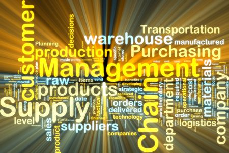 Word cloud tags concept illustration of supply chain management glowing light effect  Banco de Imagens