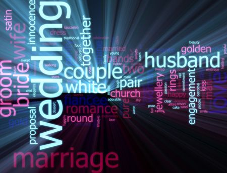 Word cloud concept illustration of wedding marriage glowing light effect Stock Illustration - 5648204