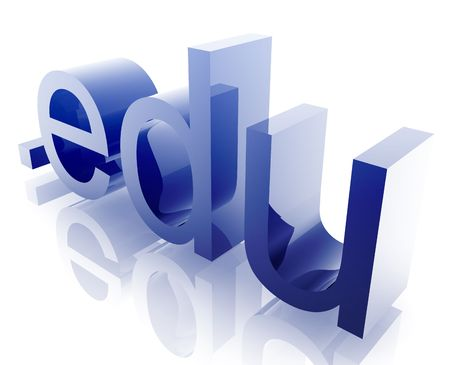 edu: Internet dot edu word graphic, with metal chrome style Stock Photo