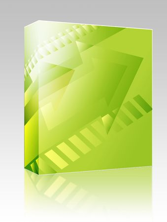 right angled: Software package box Forward moving arrows pointing right, design illustration