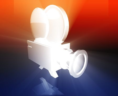 feature films: Old vintage film camera illustration shiny glowing concept