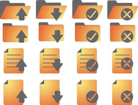 Document folder icon set, with different statuses photo