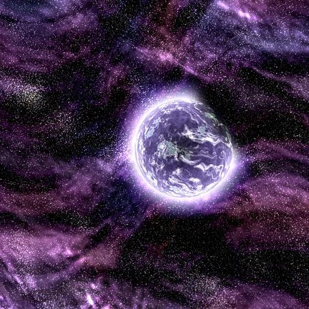Science fiction planet complex space scene illustration Stock Illustration - 5685916