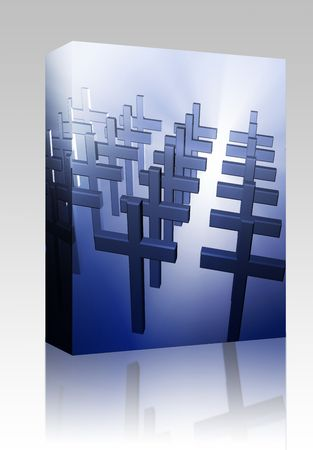 Software package box Many christian church crosses in group,  religious illustration illustration
