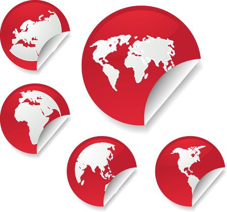 editable eastern asia: World map icons on round sticker shapes