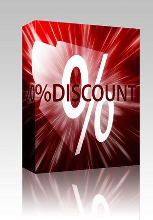 retailing: Software package box Twenty percent discount, retail sales promotion announcement illustration Stock Photo