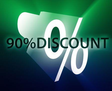 retailing: Ninety Percent discount, retail sales promotion announcement illustration