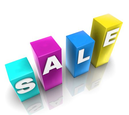 Glossy plastic metal cubes spelling out SALE photo