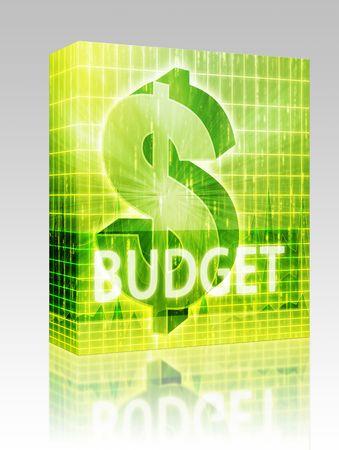 Software package box Budget Finance illustration, dollar symbol over financial design illustration