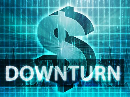 brigh: Downturn Finance illustration, dollar symbol over financial design