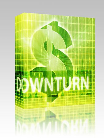 downturn: Software package box Downturn Finance illustration, dollar symbol over financial design