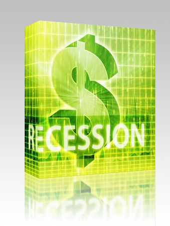 brigh: Software package box Recession Finance illustration, dollar symbol over financial design