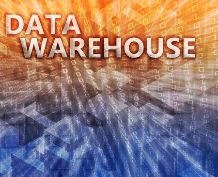 Data warehouse abstract, computer technology concept illustration illustration