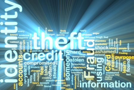 Word cloud tags concept illustration of identity theft glowing light effect Stock Illustration - 5687974