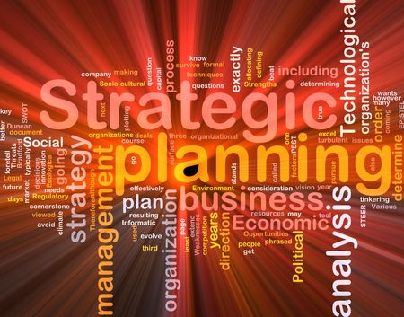 stratgy: Software package box Word cloud concept illustration of strategic planning
