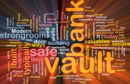 Software package box Word cloud concept illustration of bank vault Stock Illustration - 5687900