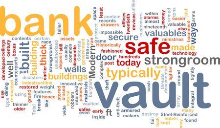 Word cloud concept illustration of bank vault illustration