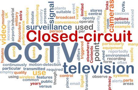 cctv: Ilustraci�n de concepto de nube de Word de las c�maras de vigilancia CCTV