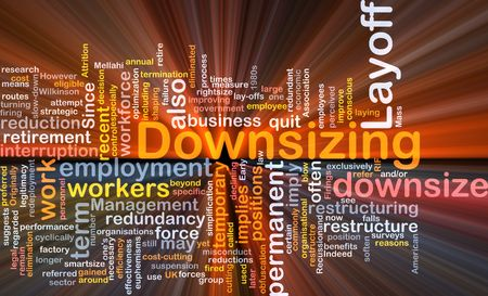 downsizing: Software package box Word cloud concept illustration of downsizing restructuring