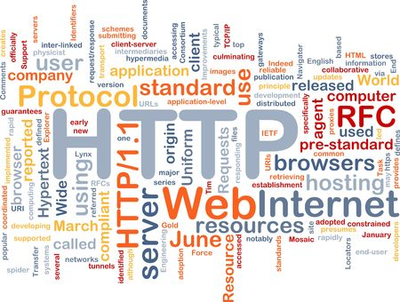 Word cloud concept illustration of web HTTP Stock Photo