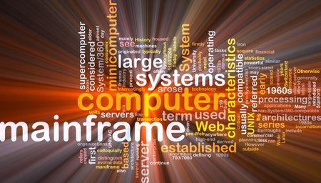 Software package box Word cloud concept illustration of mainframe computer illustration