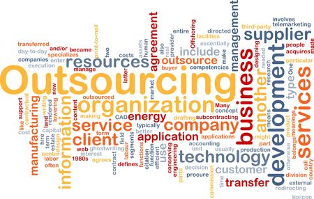 Word cloud concept illustration of business outsourcing illustration