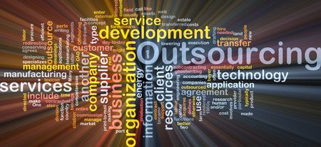 Word cloud concept illustration of business outsourcing Stock Illustration - 5687969