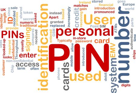 Word cloud concept illustration of Pin number illustration