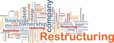 Word cloud concept illustration of company restructuring Stock Illustration - 5687944