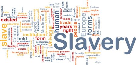 captives: Word cloud concept illustration of human slavery Stock Photo