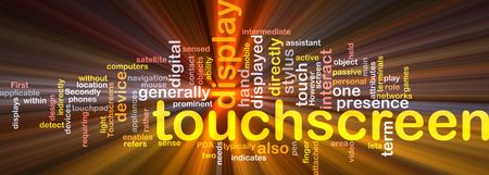 indirectly: Software package box Word cloud concept illustration of touchscreen technology Stock Photo