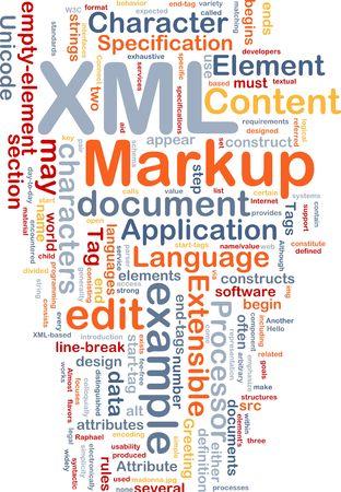 extensible: Ilustraci�n de concepto de nube de Word de lenguaje de marcado XML