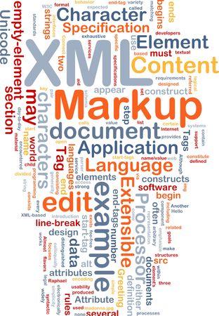 extensible: Word cloud concept illustration of XML markup language Stock Photo