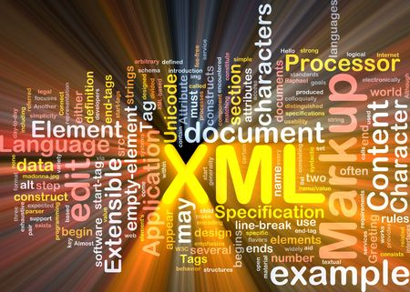extensible: Software package box Word cloud concept illustration of XML markup language