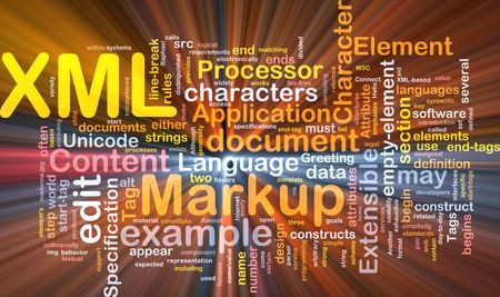 Software package box Word cloud concept illustration of XML markup language Stock Illustration - 5688003