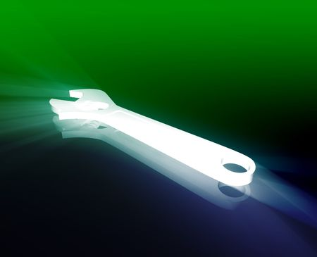monkey wrench: Monkey wrench repair tool shiny glowing illustration