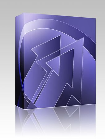 thrusting: Software package box Upwards forward moving arrows abstract design illustration