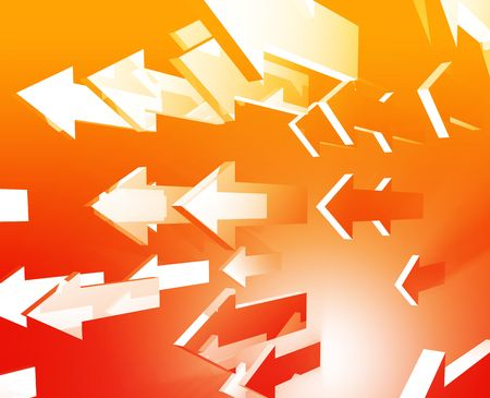 thrusting: Forward moving arrows flying group design illustration Stock Photo